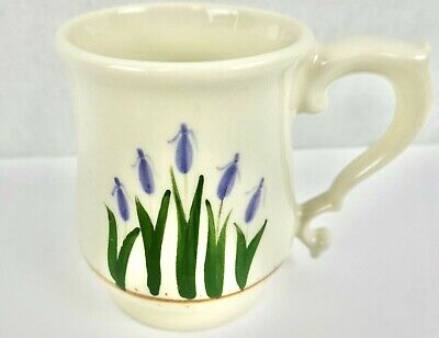 Porcelain Mugs Set of 4 Off-White with Purple Iris Flowers Shapely Handle
