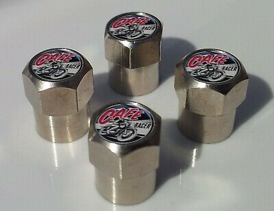 CAFE RACER MOTORBIKE BIKERS TYRE VALVE CAPS FOR TIRE WHEEL