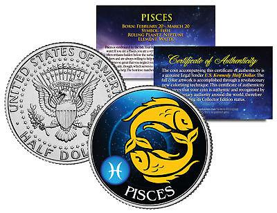 PISCES Horoscope Astrology Zodiac Kennedy U.S. Colorized Half Dollar Coin ()