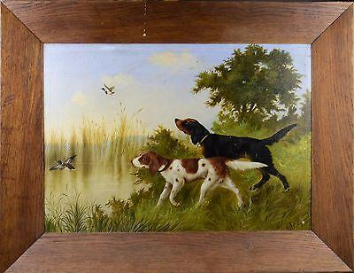 Gemälde Öl Leinwand signiert Michelangelo Meucci 1904 Tierstillleben Jagd Hunde