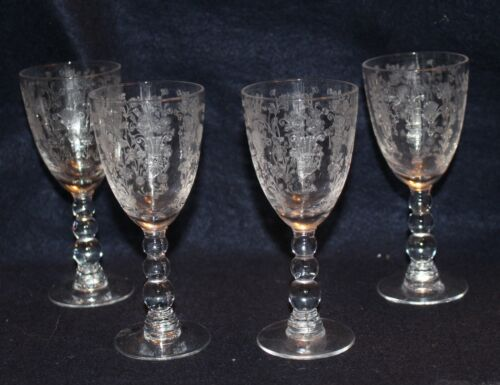 SET OF 4 IMPERIAL CANDLEWICK WINE GOBLETS