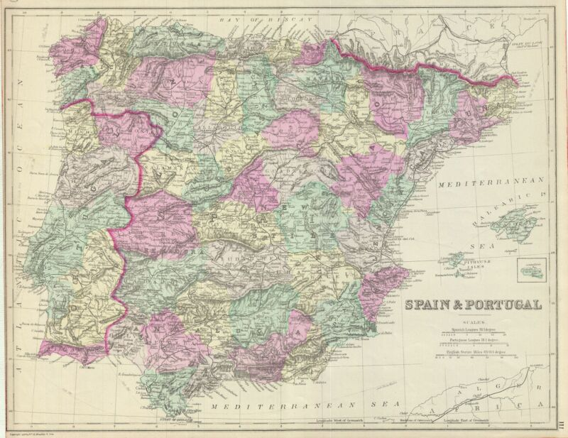 1887 Bradley Map of Spain and Portugal