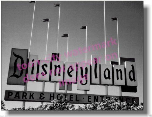 Vintage Black N White 8x10 photo Disneyland Old Marquee Sign NEWLY printed