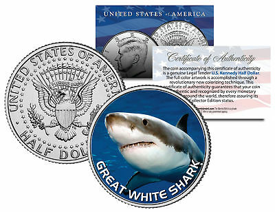Great White Shark JFK Kennedy Half Dollar US Colorized - Great White Shark Toys