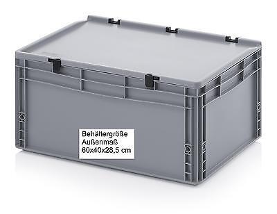 Kunststoff Stapel-Behälter mit Scharnier-Deckel 60x40x28,5 robuste Kisten Boxen