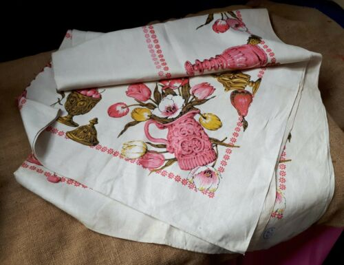 Vintage (but Unused) 1960s Tablecloth. Grapes/ Tulips/ Jugs Border Print. Home