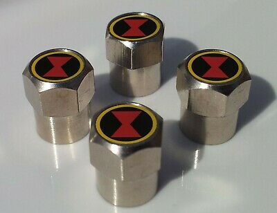 BLACK WIDOW LOGO SUPERHERO TYRE VALVE CAPS FOR TIRE WHEEL