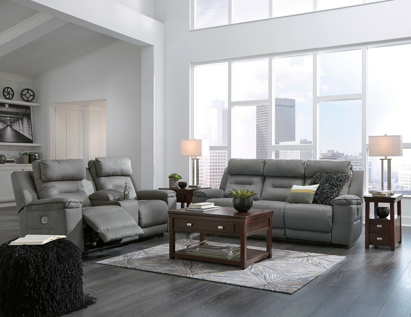 Ashley Furniture Power Reclining Sofa and Loveseat Living Ro