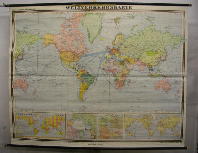 Wall Map World Map Weltverkehrskarte F&b 1961 79 1/2x62 5/8in Vintage World