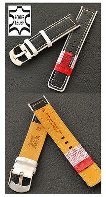 Genuine Leather Watch Strap Designer Black-White 24 mm, New Steel Schl.iesse