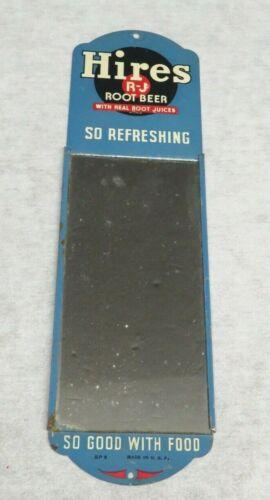 """Vintage Metal HIRES Root Beer MIRROR Advertising Sign 12"""" x 3-1/2"""""""
