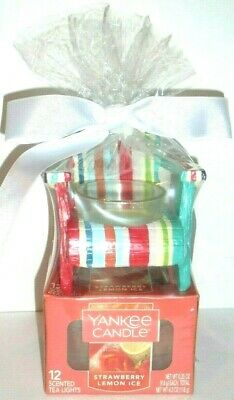 Yankee Candle STRAWBERRY LEMON ICE & STRIPED CHAIR Gift Set ~ FREE SHIPPING