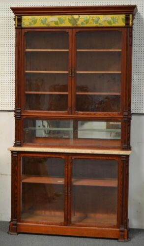 Antique Step Back Store Display Cabinet