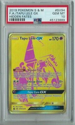 TAPU LELE GX FA GOLD SHINY 2019 POKEMON HIDDEN FATES HOLO #SV94 PSA 10 GEM MINT