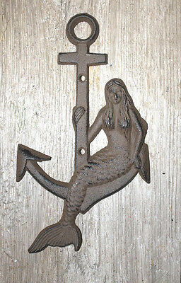 Cast Iron MERMAID on ANCHOR Plaque Sign Nautical Swimming Pool Boat Home Decor