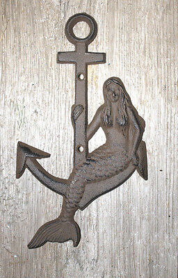 Cast Iron MERMAID on ANCHOR Plaque Sign Nautical Swimming Pool Boat Home Decor Cast Iron Boat Anchor