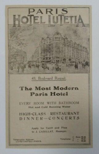 1919 Paris Hotel Lutetia Advertisement