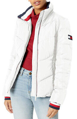 Tommy Hilfiger Women's Short Chevron Quilted Heritage Puffer -