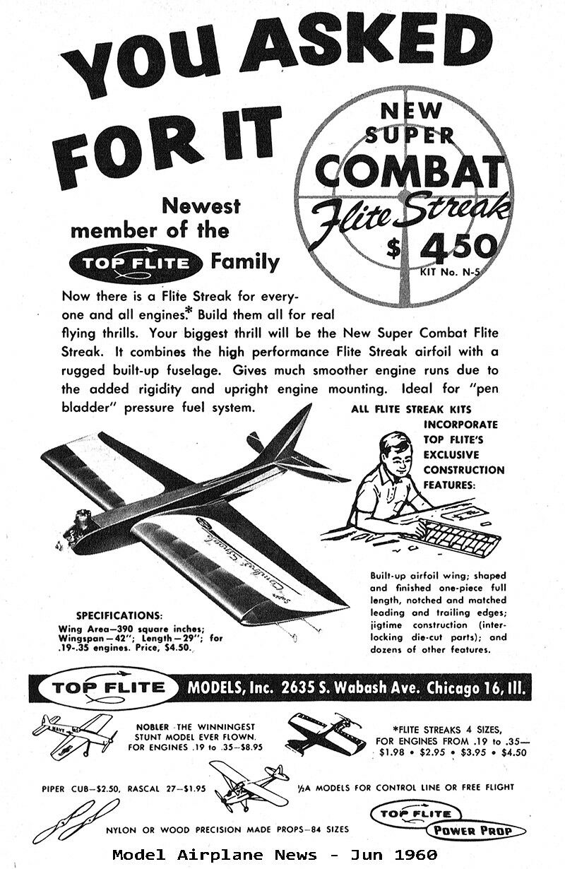 "Model Airplane Plans Top Flite : Super Combat Streak 42/"" for .19-.35 UC"