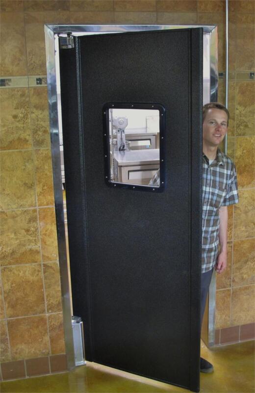 """TRAFFIC Swing Doors 36""""x 84"""" Restaurant Kitchen Swinging Door. Color Black NEW."""