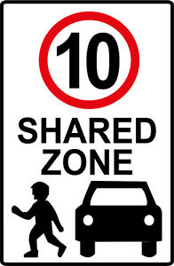 SHARED ZONE SPEED LIMIT 10  METAL SIGN 600 X 450MM ROAD TRAFFIC SIGN