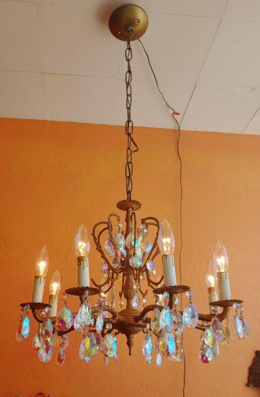 Ornate Vintage Spanish Brass Chandelier with 8 arms, Aurora Borialis prisms.
