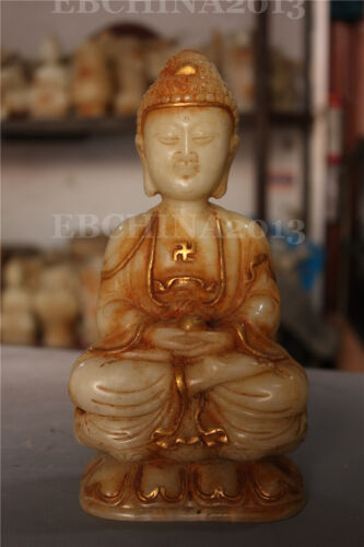 "8.4"" Chinese Old White Jade Hand-carved Buddhism Shakya Mani Buddha Sculpture"