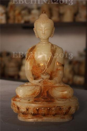 """8"""" Chinese Old White Jade Hand-carved Buddhism Shakya Mani Buddha Sculpture"""