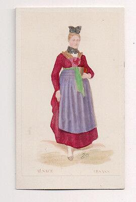 Vintage CDV Handbemalt Damen Alsace Frankreich Traditionell National Kostüm