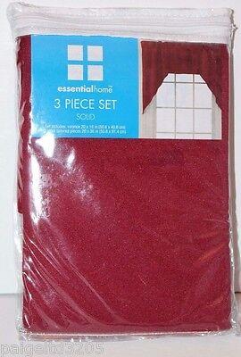 3 Piece Jabot Set (Essential Home Solid Red Valance & Jabot Tailored 3-Piece Set )