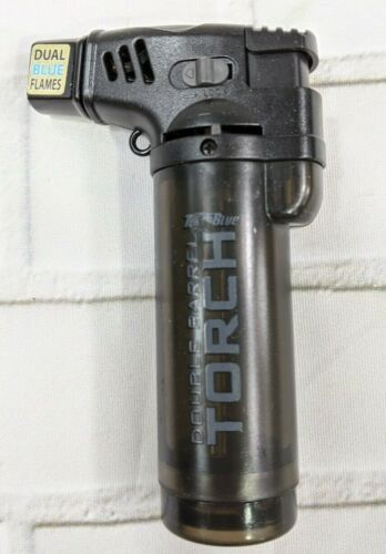 """Turbo Blue Double Barrel Torch Lighter Black 2 Flame New 4"""""""