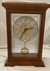 Bulova Model B1868 Cherry Quartz Mantle Clock with Westminster Chimes