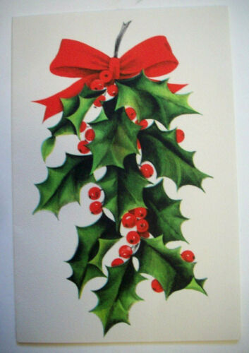 Hallmark holly bough vintage Christmas greeting card