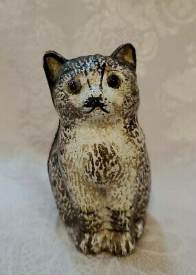 Antique Cast Iron Cat Still Bank Glass Eyes