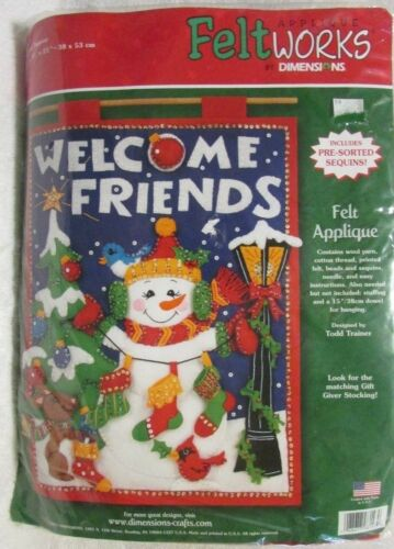 """NIP Holiday """"Welcome Friends"""" Applique Feltworks Snowman By Dimensions 15 x 21"""