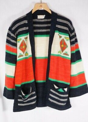 Vintage Cardigan Sweater 70's Red green Aztec Holiday