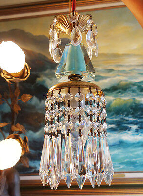 1 Vintage SWAG plugin Blue aqua Brass hanging lamp chandelier crystal prisms