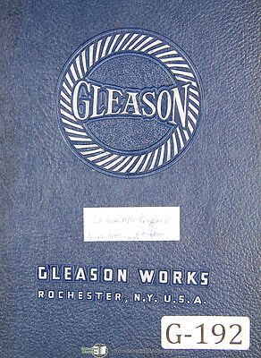 Gleason 16 Hypoid Rougher 24489 Up Operators Instructions Manual