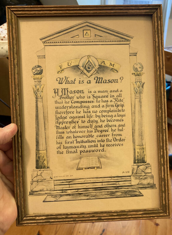 "Antique Masonic ""What is a Mason?""  Art Print, Framed, Vintage, Freemason"