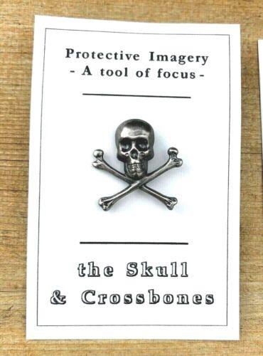 Metal Skull and Crossbones Lapel Pin Biker Goth Hat Pin Focus Imagery Tool