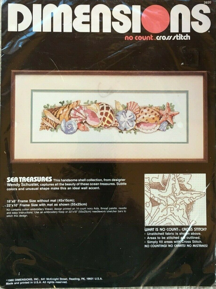 Sea Treasures Sea Shells Dimensions No Count Cross Stitch Ki