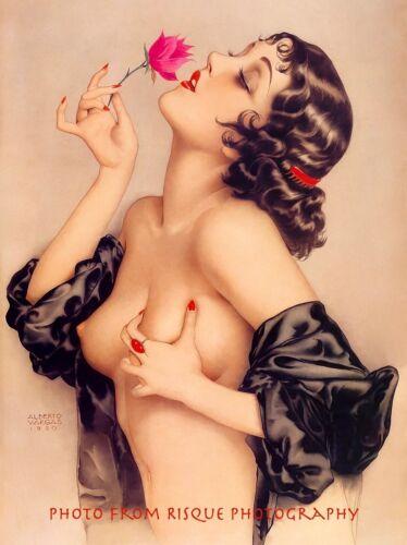 "Nude Woman Clutching Breast 8.5x11"" Photo Print Alberto Vargas Naked Female Art"