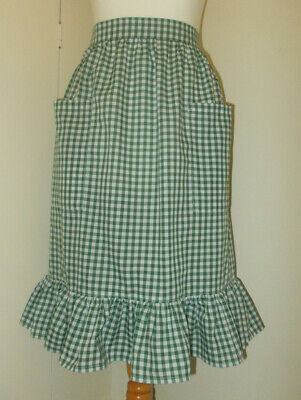 Frilly 'Bottle Green Gingham' Vintage Style Waist Apron/Pinny