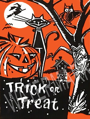 Halloween Trick Treat Bag Black Cat Bat  JOL Owl Metal Magnet 3x4 inches 8988 - Halloween Bat Treats