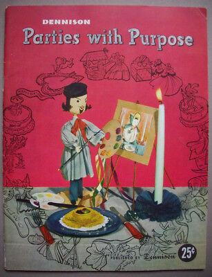 Vintage 1950's Dennison Parties with Purpose Book ideas patterns decor - 1950s Party Ideas