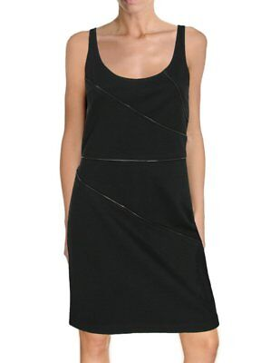 NWT- Theory Dora Stretch-Ponte Zipper Embellished Tank Dress, Black - Size 10