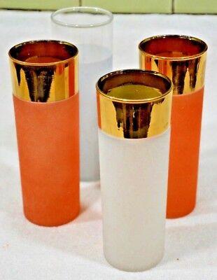 Mid Century Vintage  Bright Orange, WHITE, GOLD TEXTUR Finish Glass Tumblers Set