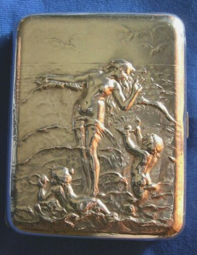 94-Antique silver French pair of cigarette box and match safe