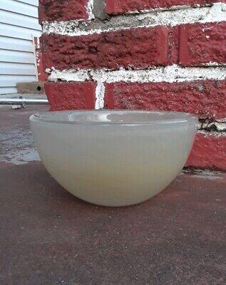 Vintage Henry Dean Glass Bowl Beige Green Excellent 7in