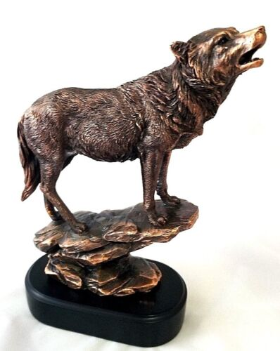 """Wolf Bronze Copper Plated Figurine Statue 11 3/4"""" Height"""